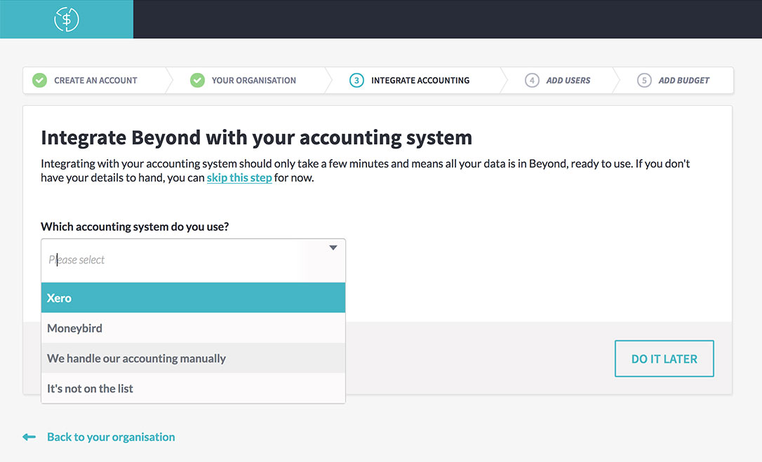 The integrate accounting step on the Beyond sign-up process